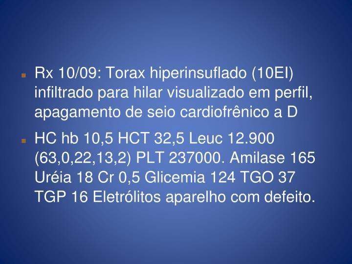 Rx 10/09: Torax hiperinsuflado (10EI) infiltrado para hilar visualizado em perfil, apagamento de seio cardiofrênico a D