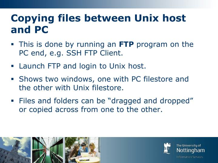 Copying files between Unix host and PC