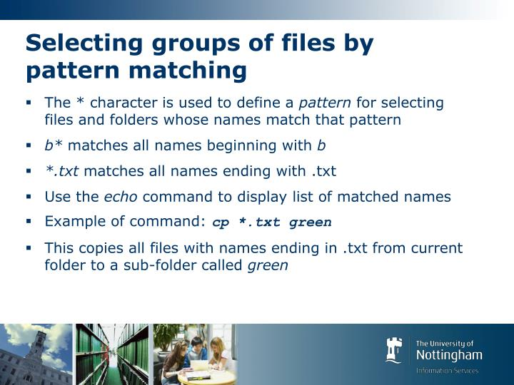 Selecting groups of files by pattern matching