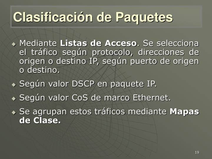 Clasificación de Paquetes