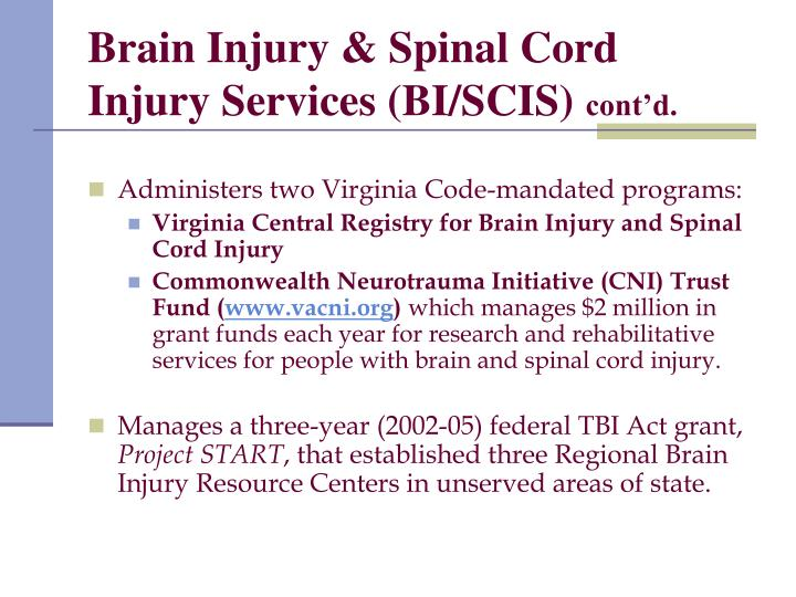 Brain Injury & Spinal Cord Injury Services (BI/SCIS)