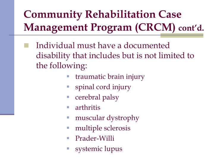 Community Rehabilitation Case Management Program (CRCM)