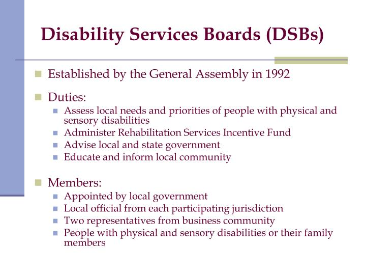Disability Services Boards (DSBs)