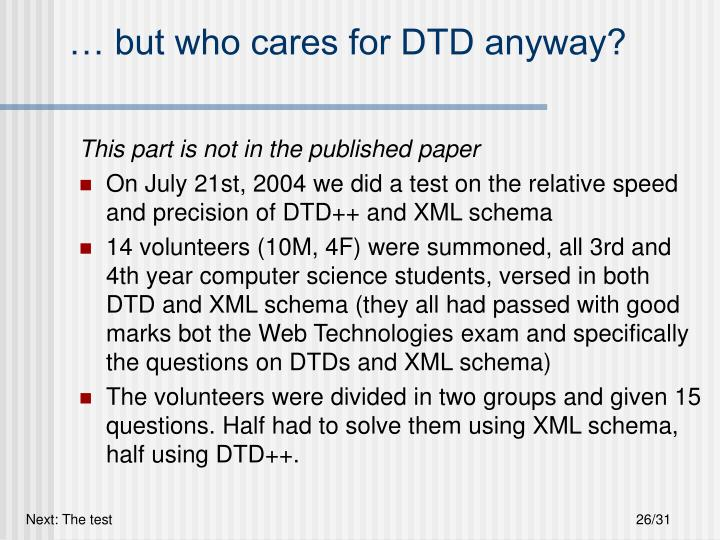 … but who cares for DTD anyway?