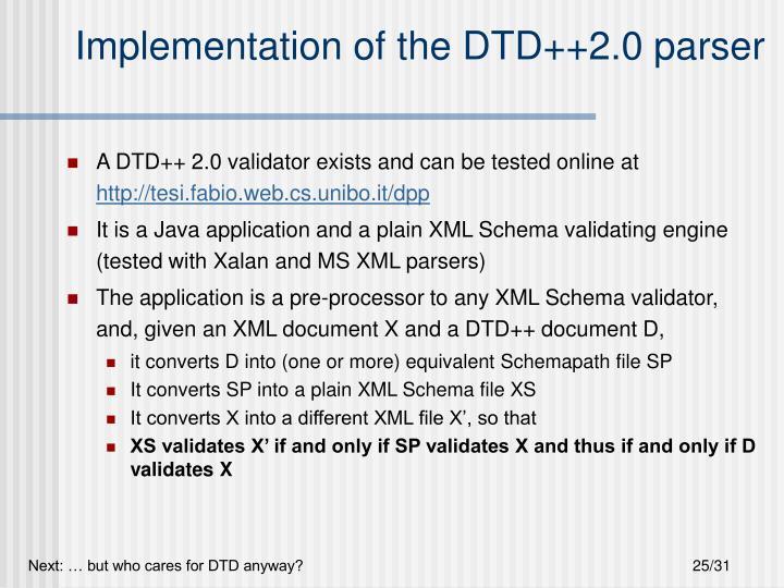 Implementation of the DTD++2.0 parser