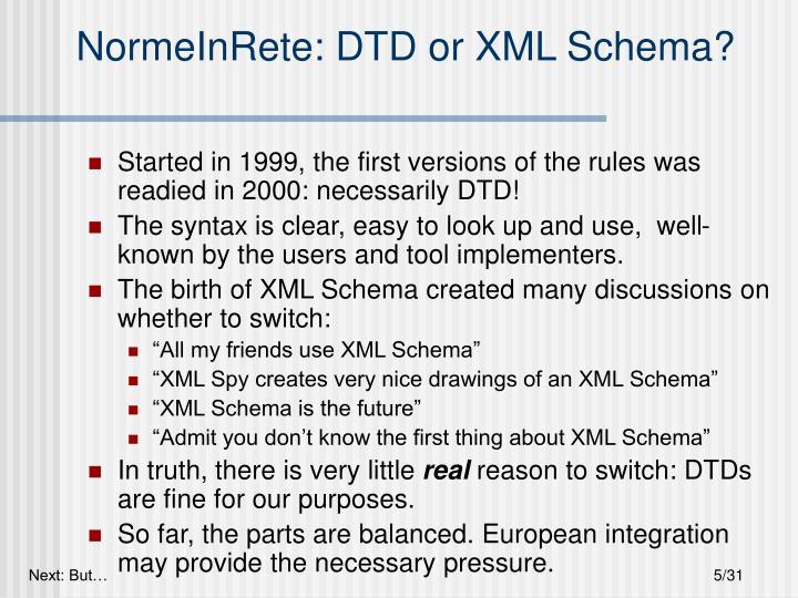 NormeInRete: DTD or XML Schema?