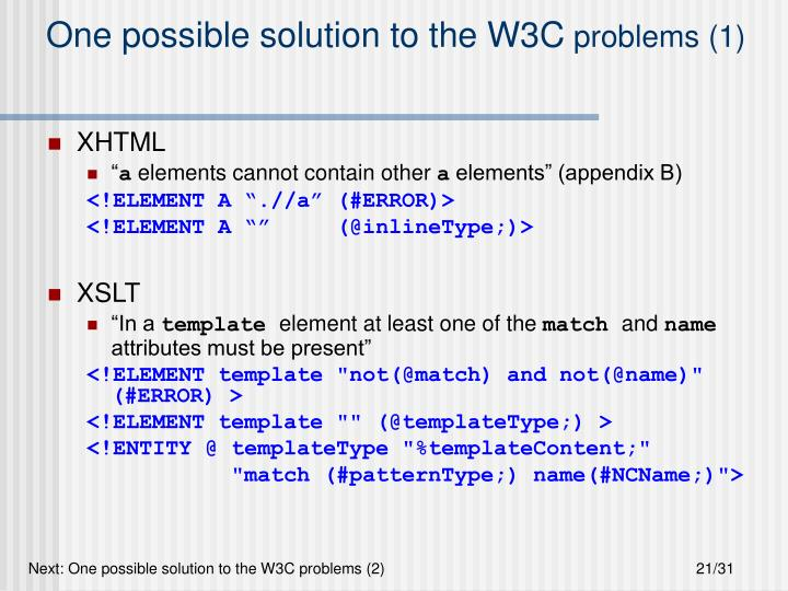 One possible solution to the W3C