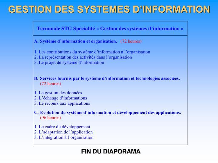 GESTION DES SYSTEMES D'INFORMATION
