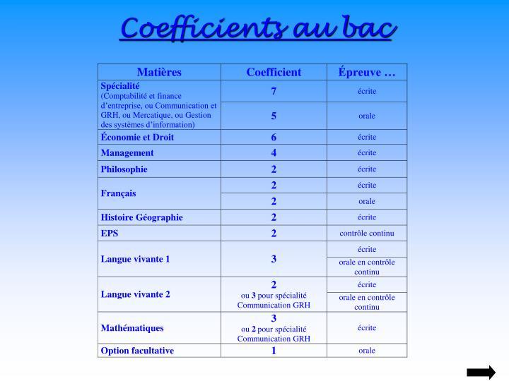 Coefficients au bac