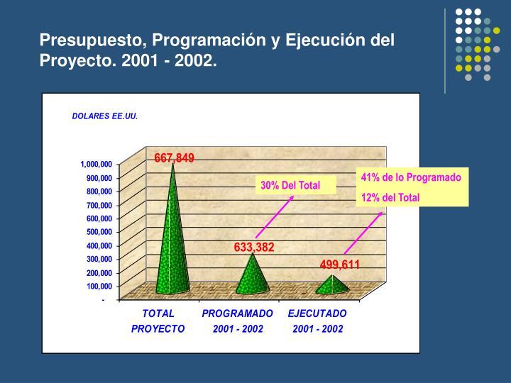 Presupuesto, Programación y Ejecución del Proyecto. 2001 - 2002.