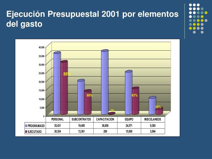 Ejecución Presupuestal 2001 por elementos del gasto