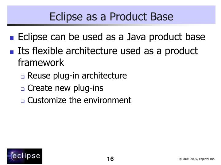 Eclipse as a Product Base