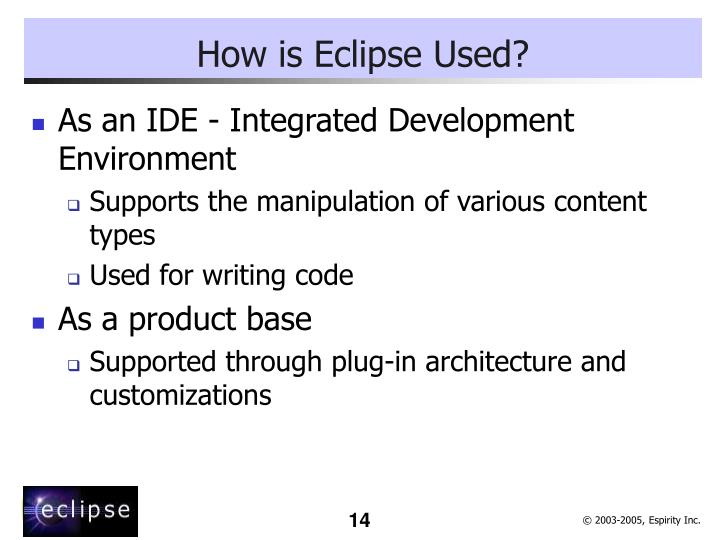How is Eclipse Used?