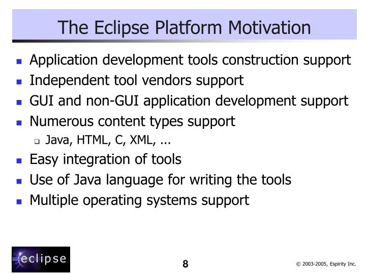 The Eclipse Platform Motivation