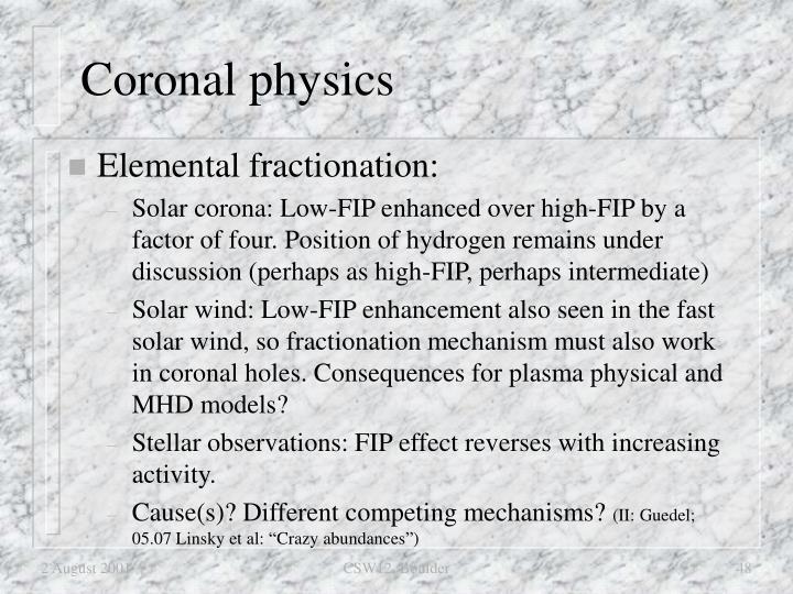 Coronal physics