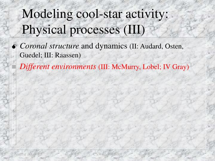 Modeling cool-star activity: Physical processes (III)