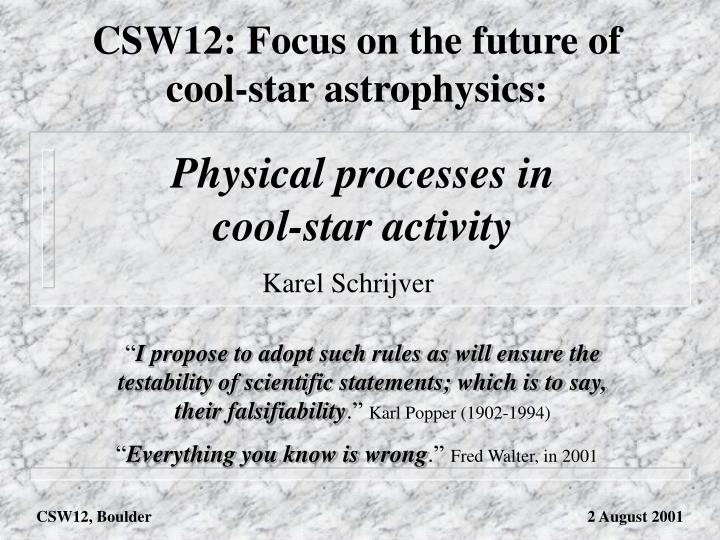 Physical processes in cool star activity
