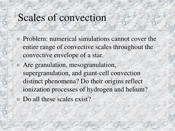Scales of convection