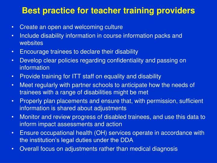 Best practiceforteacher training providers