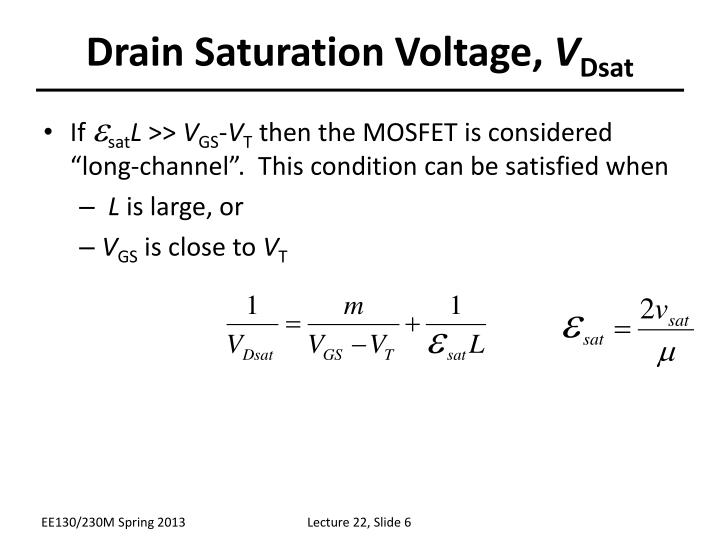 Drain Saturation Voltage,