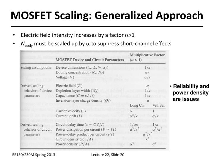 MOSFET Scaling: Generalized Approach