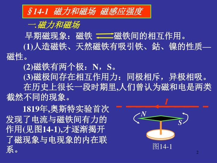 早期磁现象:磁铁          磁铁间的相互作用。