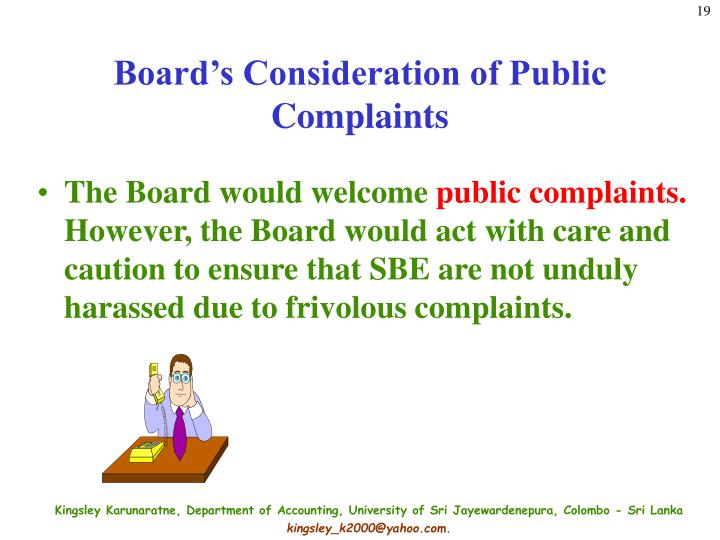 Board's Consideration of Public Complaints