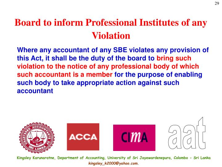 Board to inform Professional Institutes of any Violation