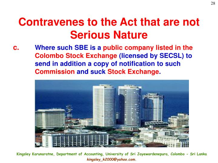 Contravenes to the Act that are not Serious Nature