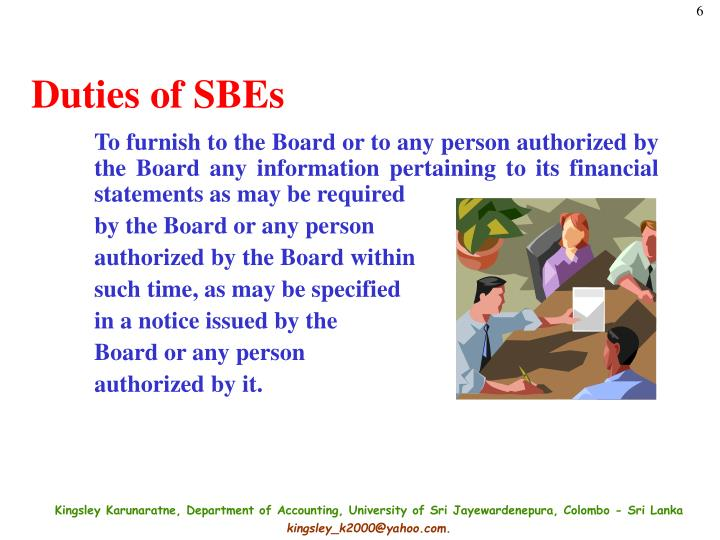 Duties of SBEs