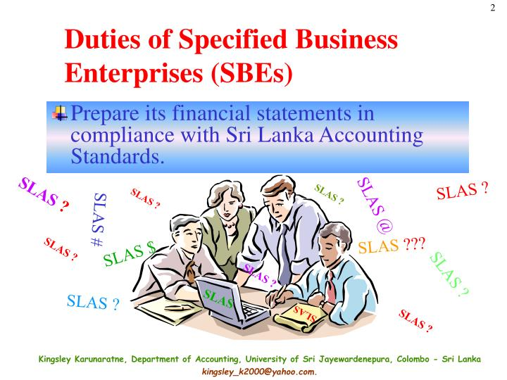Duties of specified business enterprises sbes