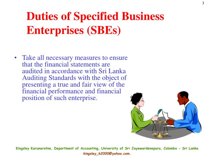 Duties of Specified Business Enterprises (SBEs)