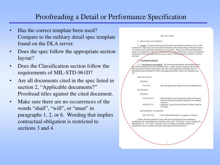 Proofreading a Detail or Performance Specification