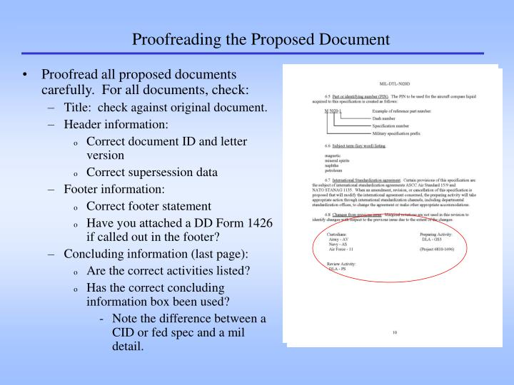 Proofreading the Proposed Document