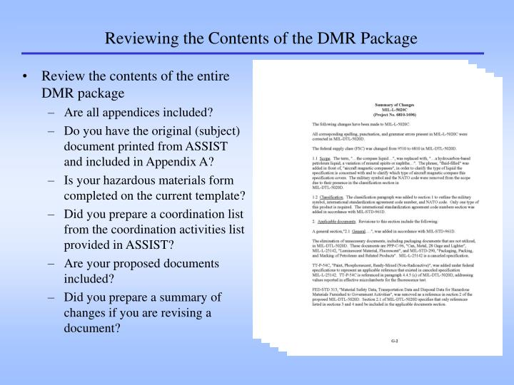 Reviewing the Contents of the DMR Package