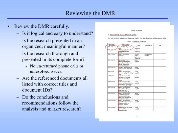 Reviewing the DMR