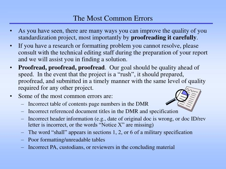 The Most Common Errors