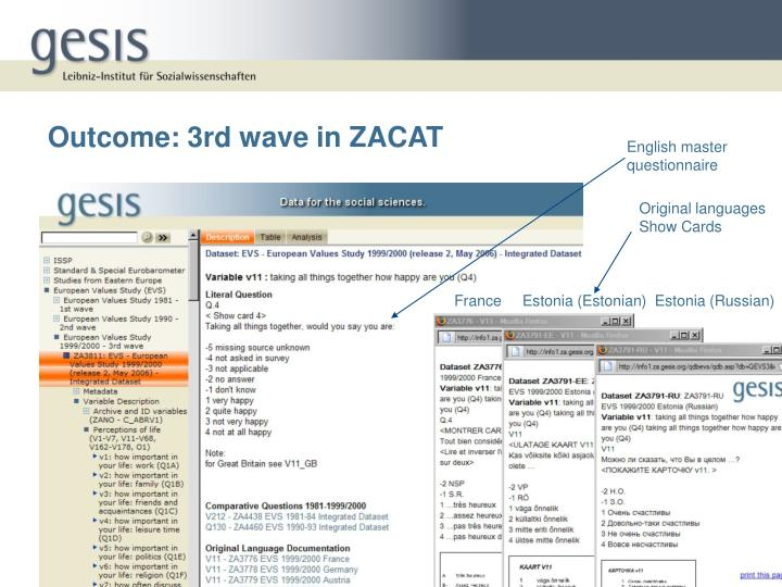 Outcome: 3rd wave in ZACAT