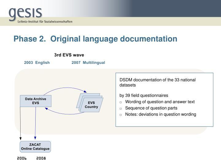 Phase 2.  Original language documentation