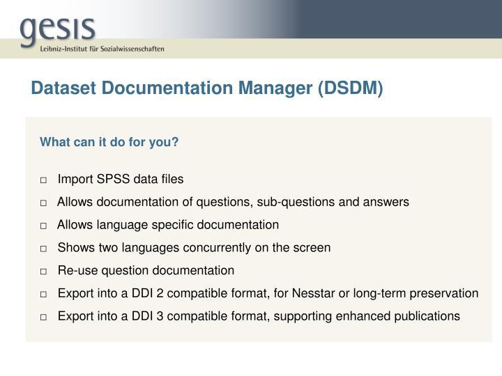 Dataset Documentation Manager (DSDM)