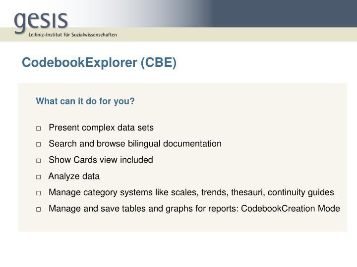 CodebookExplorer (CBE)
