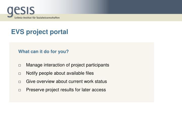 EVS project portal
