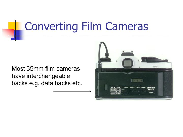 Most 35mm film cameras have interchangeable  backs e.g. data backs etc.