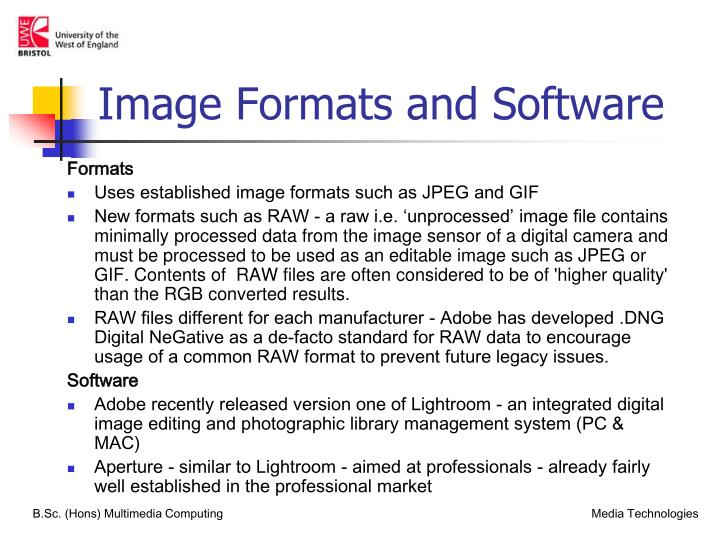 Image Formats and Software