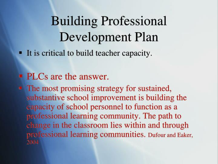 Building Professional Development Plan