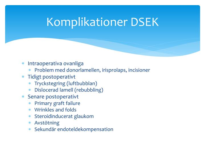 Komplikationer DSEK