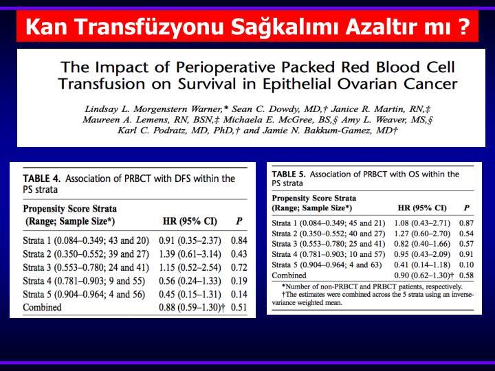 Kan Transfüzyonu Sağkalımı Azaltır mı ?