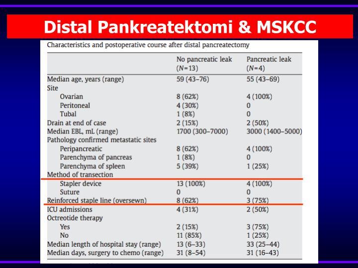 Distal Pankreatektomi & MSKCC