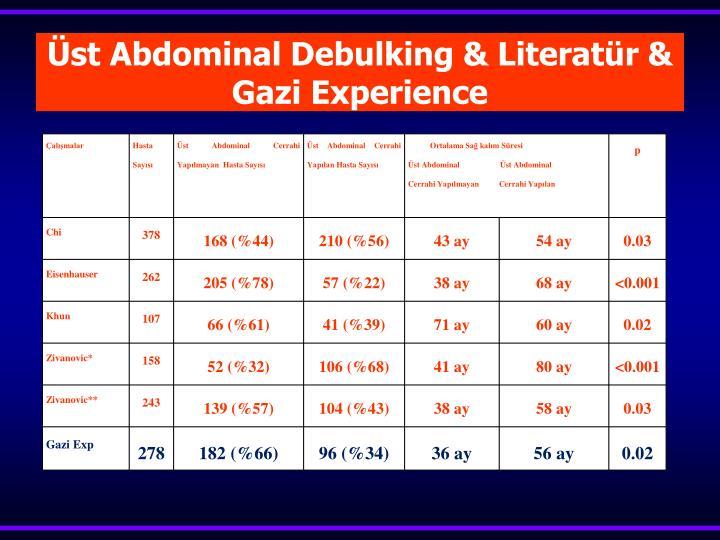 Üst Abdominal Debulking & Literatür & Gazi Experience