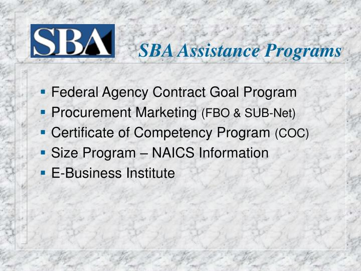 SBA Assistance Programs